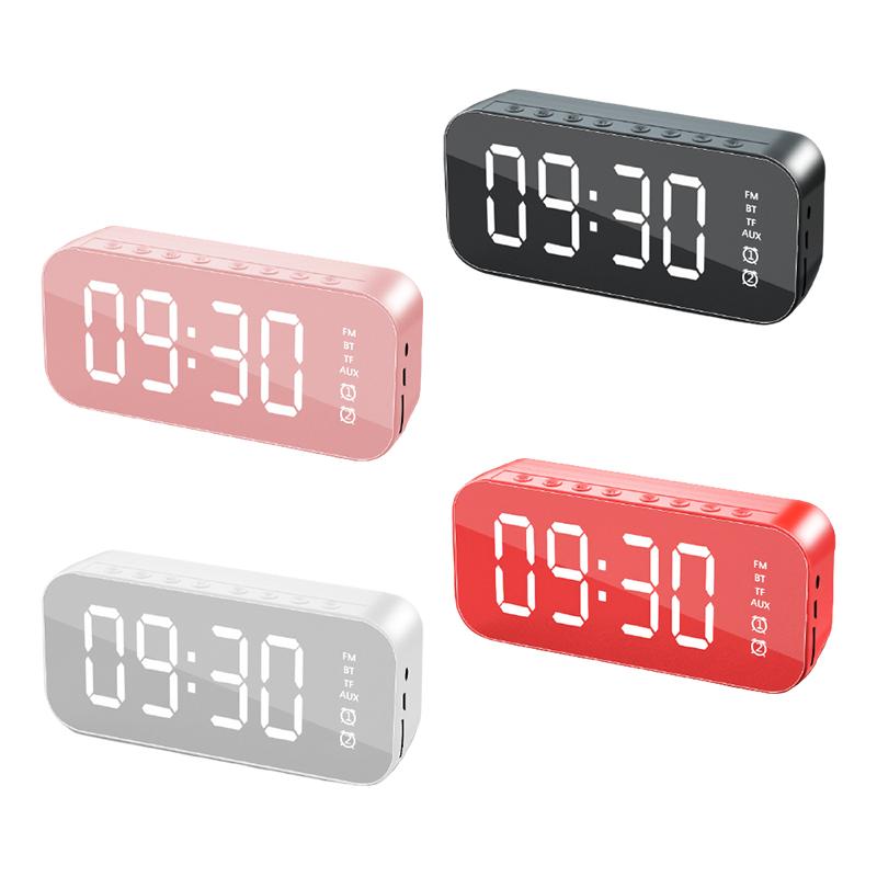 LED Mirror Digital Alarm Clock Wireless Bluetooth 5.0 Speaker MP3 FM Radio