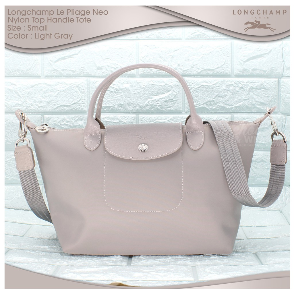 e308aa320 Authentic Longchamp Le Pliage Neo Small Tote - Light Gray | Shopee  Philippines