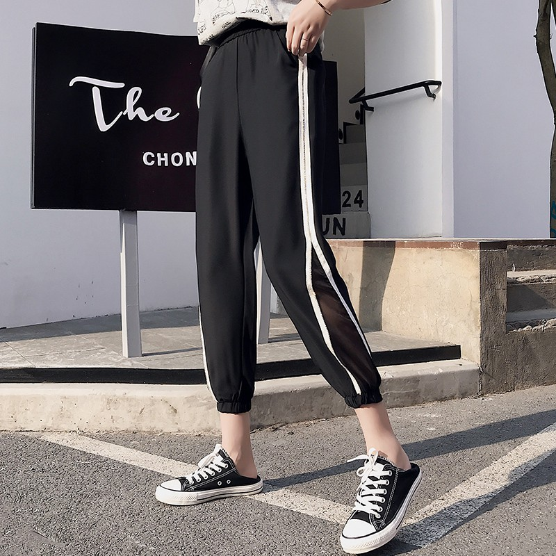 ?Sweatpants female summer loose show thin joker cec ice silk chiffon wide leg nine points haroun pa