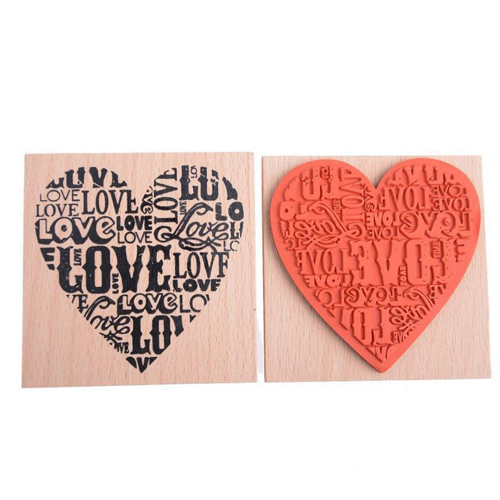 Wooden Rubber Love Heart Stamp For Diary Scrapbooking Card Making DIY Craft Fad.