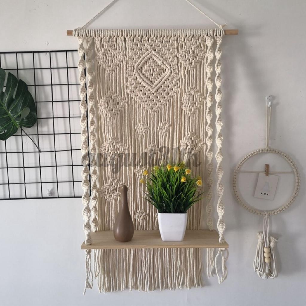 Handmade Boho Home Wall Decor Wood Floating Plant Shelf Macrame Wall Hanging Shelf Hand Knitted Tapestry For Bedroom Swing Rope Floating Shelf Cafe Shop Home Floating Shelves