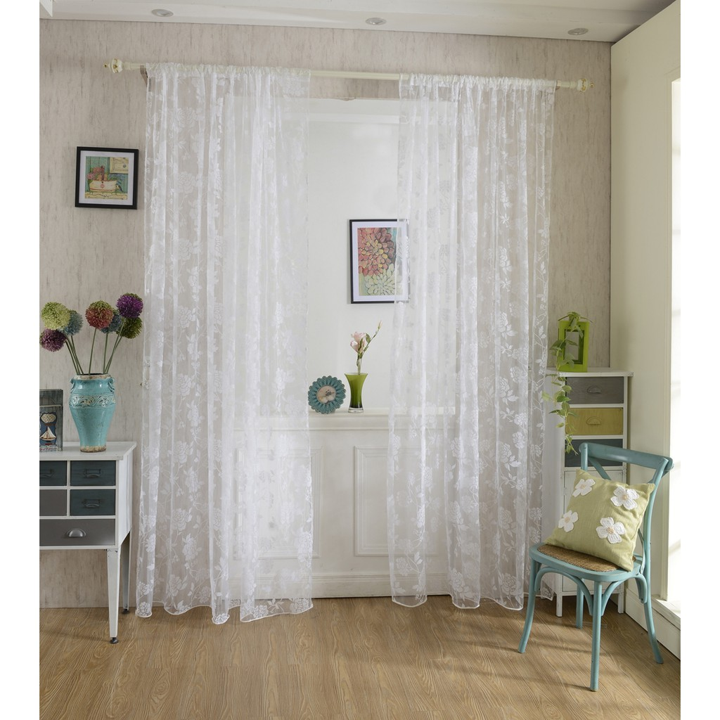 Flocking Peony Sheer Curtain Panel Window Tulle Divider White 100 200cm Shopee Philippines