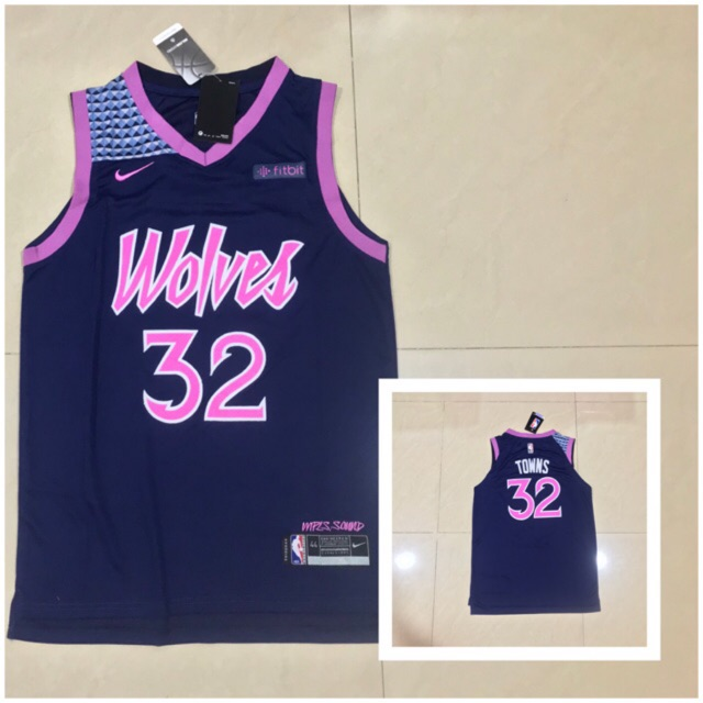 best loved eb47d 7bc7a Karl-anthony towns wolves city nike jersey ( oem )