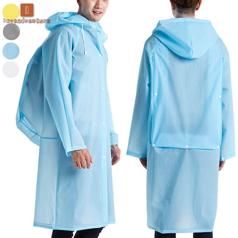 nou ieftin neînvins x New York LV Men Women Hooded Raincoat EVA Waterproof Long Rainwear Poncho ...