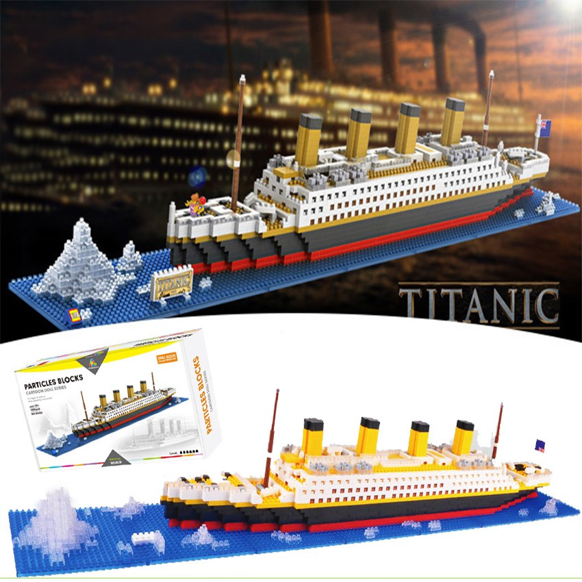 1860pcs Titanic Cruise Ship Model Boat DIY Building Blocks Brick Kit  Children Kids Educational Toys