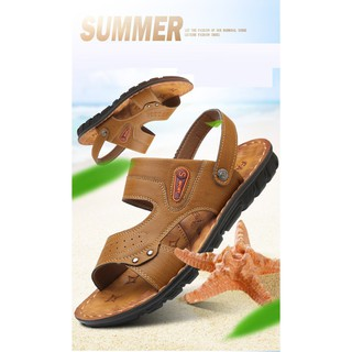 72e1cf27ffba Leather Men Sandals Fashion Gladiator Summer Outdoor Shoes