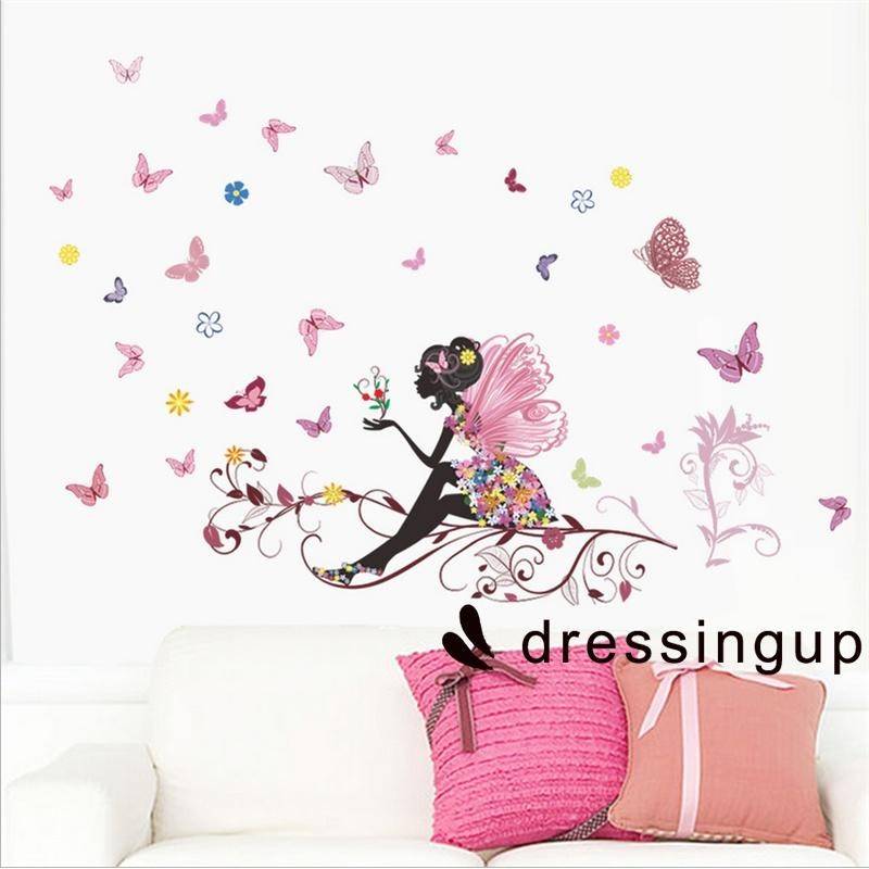 Swallows Pink Flowers Wall Stickers art Mural Children Decor Paper Reusable