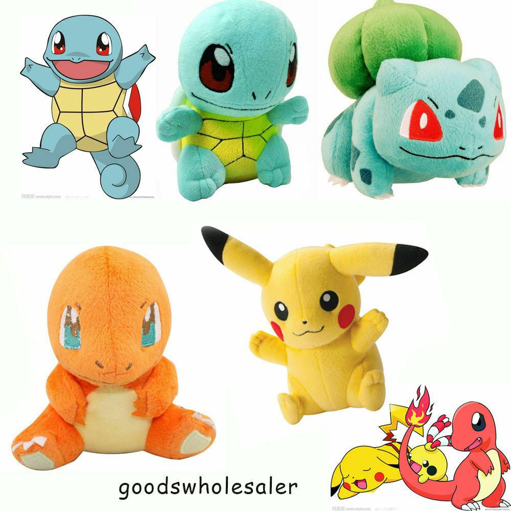 4PCS Set Pokemon Plush Toys Pikachu Bulbasaur Squirtle Charmander Action Set NEW