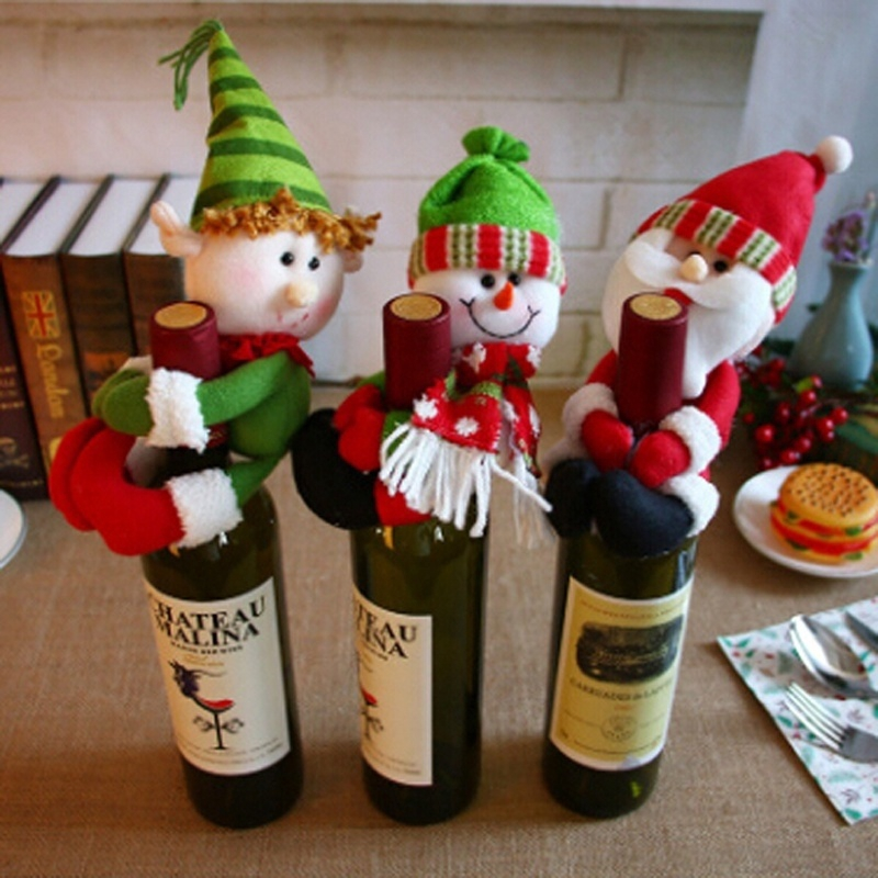Christmas Decorations Santa Snowman Cute Held Red Wine Bottle Bar Package Restaurant Decor Shopee Philippines