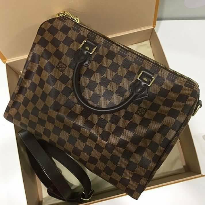 4e6ea040830a Louis Vuitton Damier Ebene Speedy 25 With Shoulder Strap