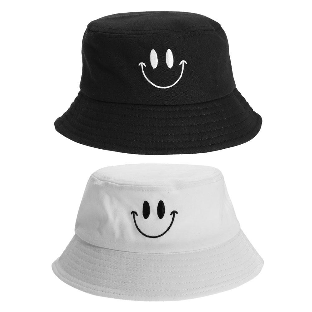 feeef73c597 Panama Bucket Hat Smile Face Flat Sun Visor Fisherman Bob Hip Hop Caps  Unisex