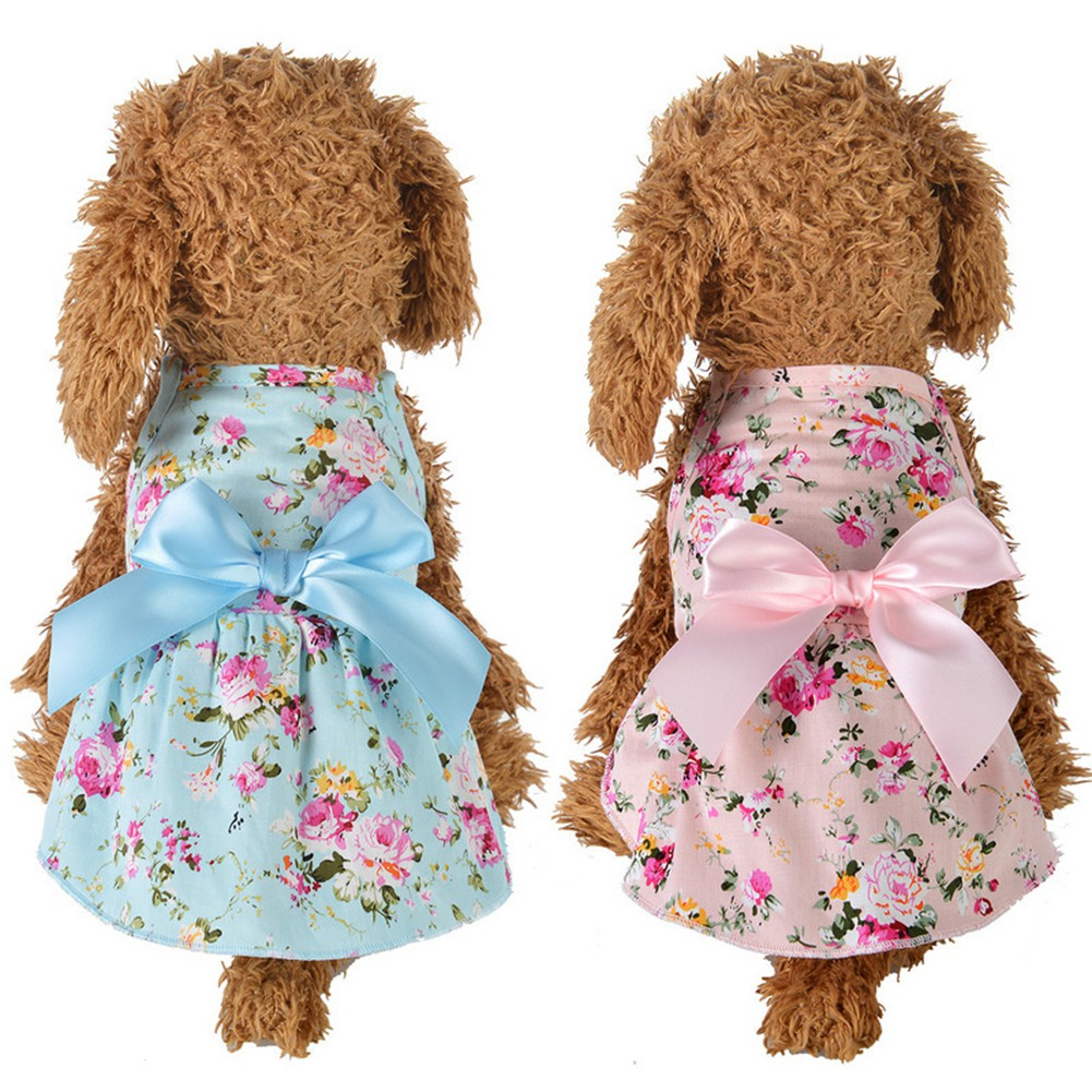 9eb641060e464 Ten_Spring Summer Flower Print Cotton Cute Pet Dress Cat Dog Costume Outfit  Clothes