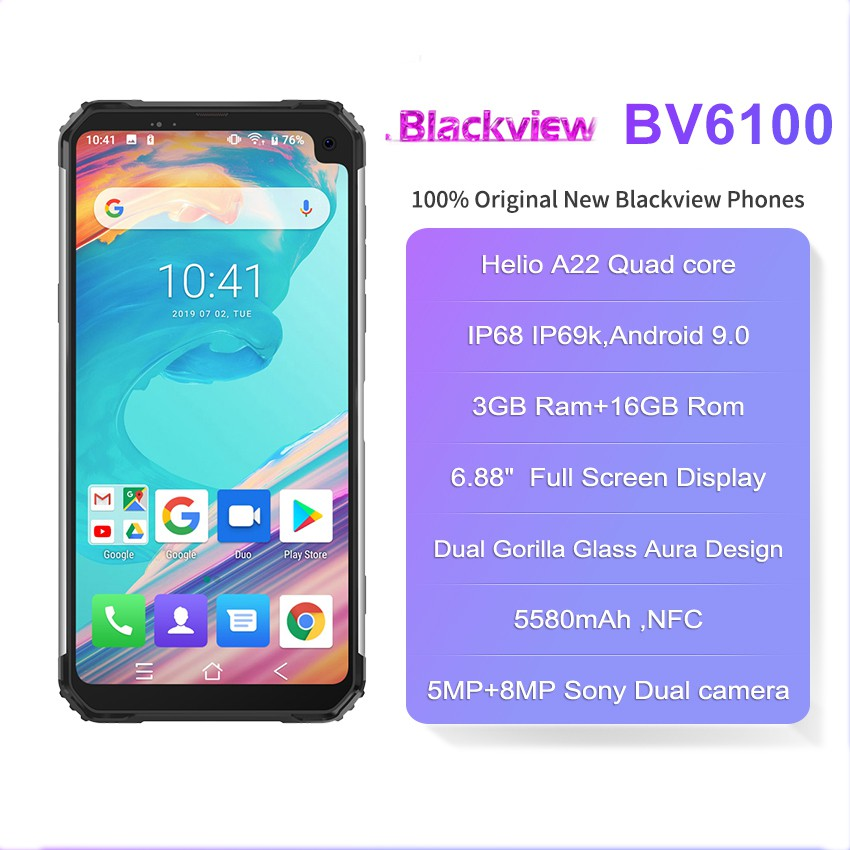 Blackview BV6100 Android 9 0 SmartPhone cellphone 3GB RAM 16GB ROM 6 88