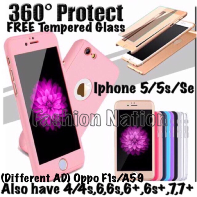 best sneakers 942d8 9d088 360 Degree iphone Case 5 5s Se 6 6s 6s+ 7 Plus Oppo F1s A59