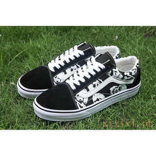 100 Original Authentic Vans Skulls Old Skool Black&White Vans Old Skool Skull Shoes