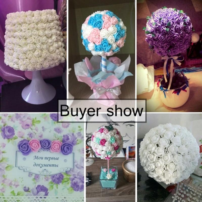 916278f891f24 144pcs/pack Artificial Foam Rose Flowers Pieces DIY Hair Ban