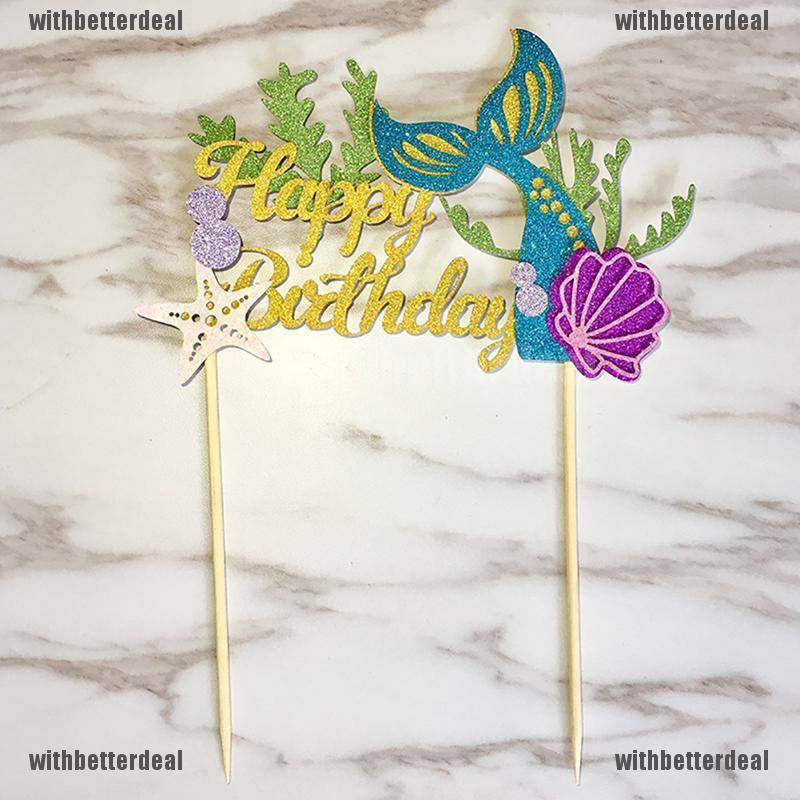 Fantastic Starfish Mermaid Happy Birthday Cake Toppers Cupcake Baby Shower Personalised Birthday Cards Akebfashionlily Jamesorg