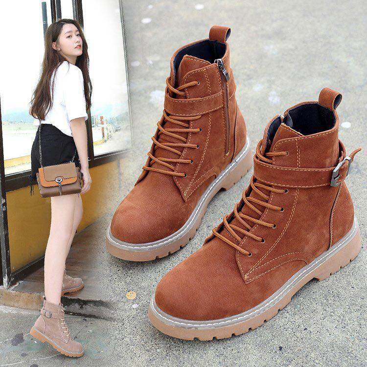 d76e209e69a Korean Moto Boots Martin Boots Female Casual Shoes High-Top