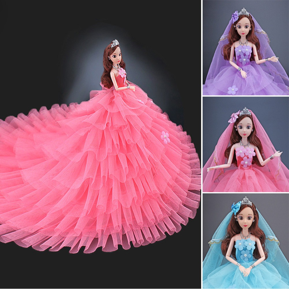 Wedding dress 3D eye girl purple Trailing wedding dress Barbie doll with costume