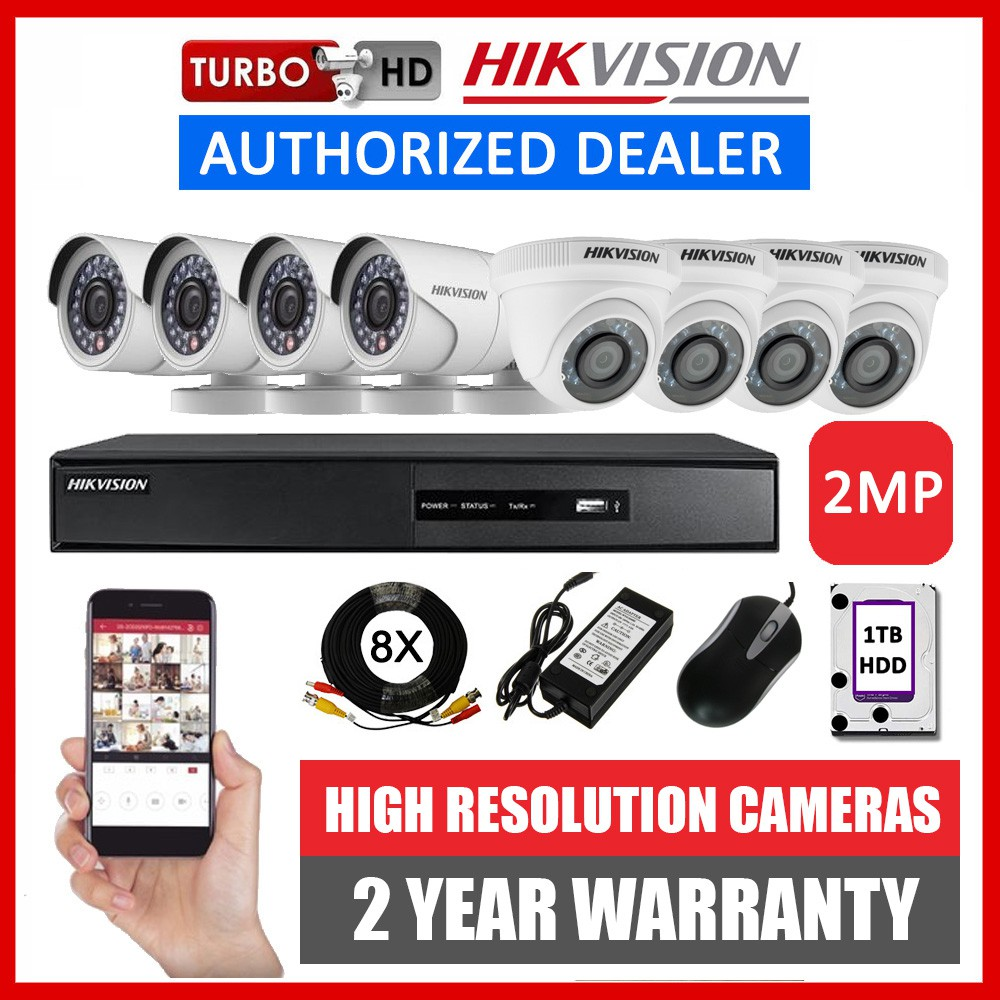 Hikvision 8CH 2MP 8 Camera Turbo HD CCTV Package DIY Kit