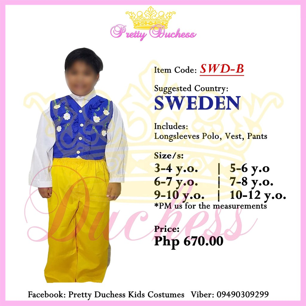 SWEDEN United Nations Costume UN Costume Boy