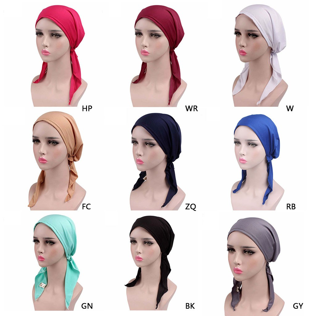 9fd567a7c Womens Chemo Hat Turban Head Scarves Pre Tied Bandana Hair Cover Cap Solid  Color