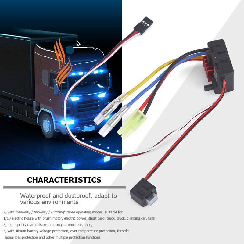 1 Pcs Waterproof Brushed 60A ESC Electronic Speed Controller Portable for  1/10 RC Car