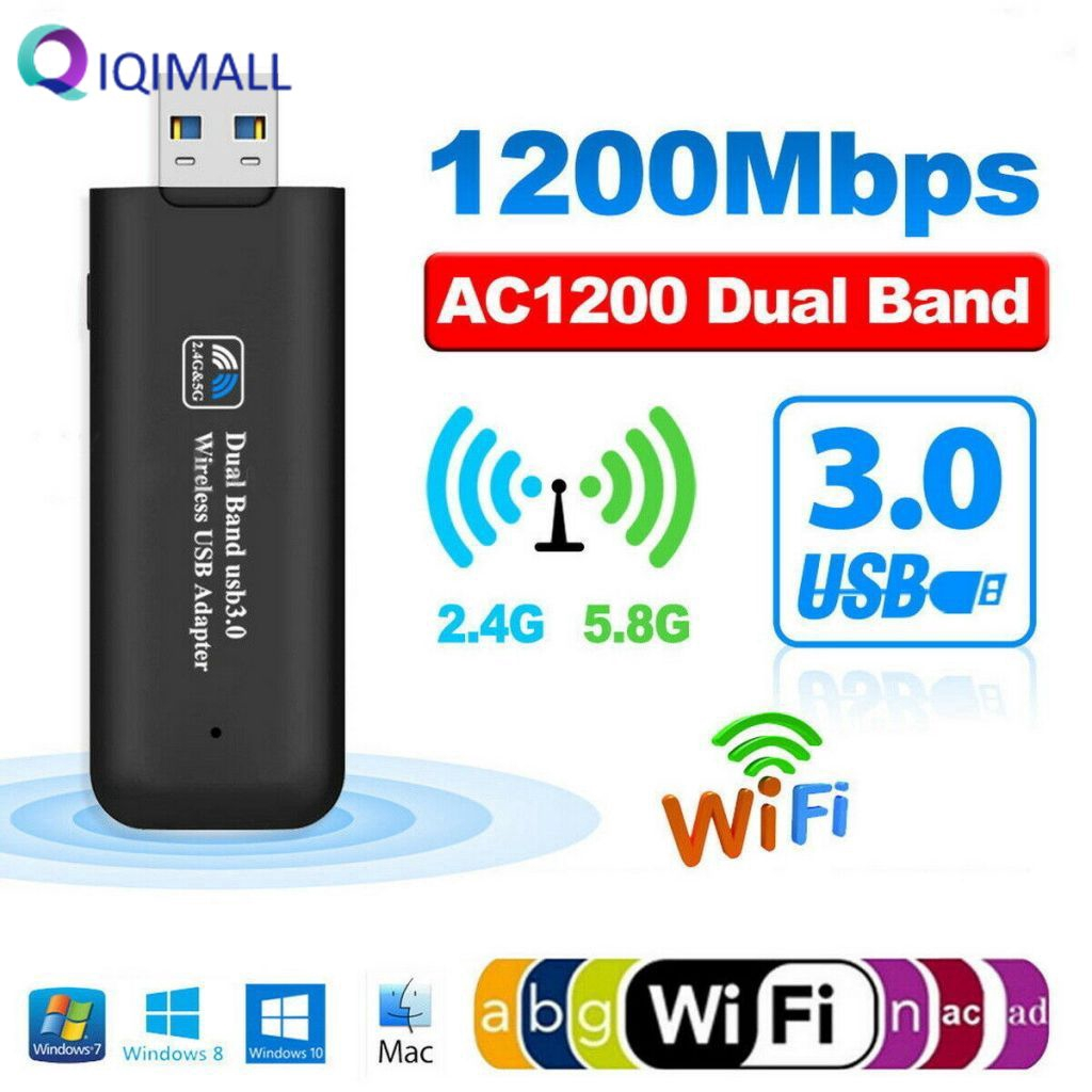 Mini Wireless Dual Band Dongle AC1200 USB Wi-Fi Adapter Network Receiver