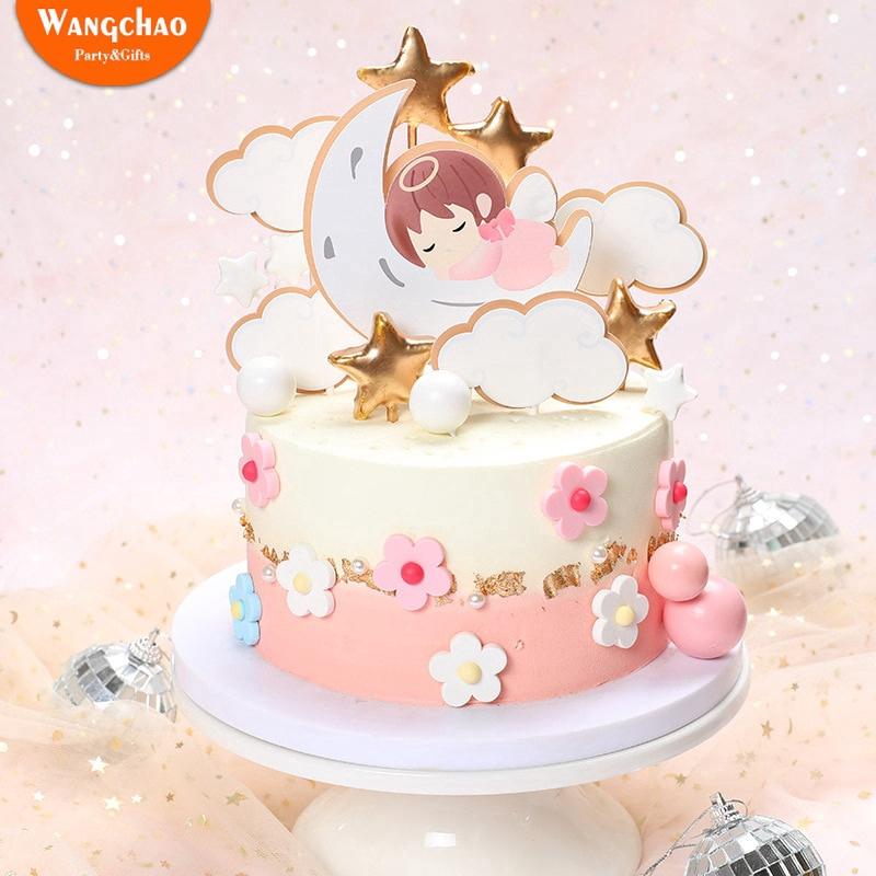 Marvelous 1 Set Angel Moon Stars Babys Theme 1St Birthday Cake Decoration Funny Birthday Cards Online Alyptdamsfinfo