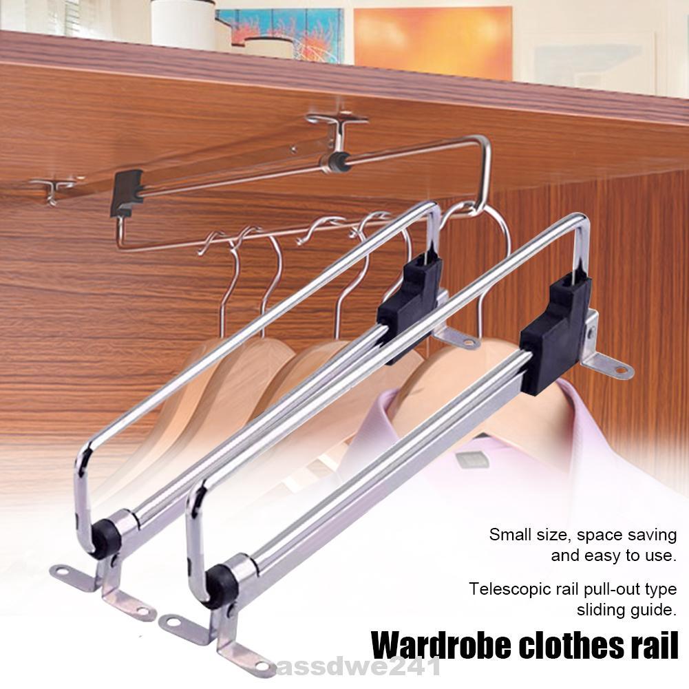 Retractable Wardrobe Clothes Hanger Pull Out Closet Rod Rail Organizer Rack