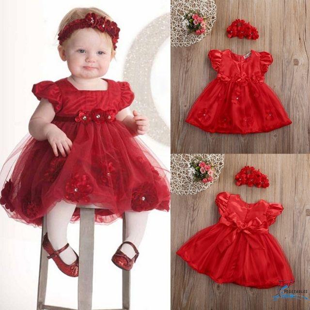 Baby Girl Red Dress Birthday Wedding