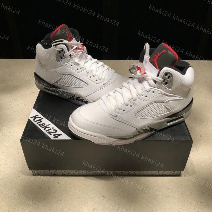 low priced 100b7 7a036 Nike Air Jordan 5 White Cement For Men Sports basketball running shoes   Shopee  Philippines