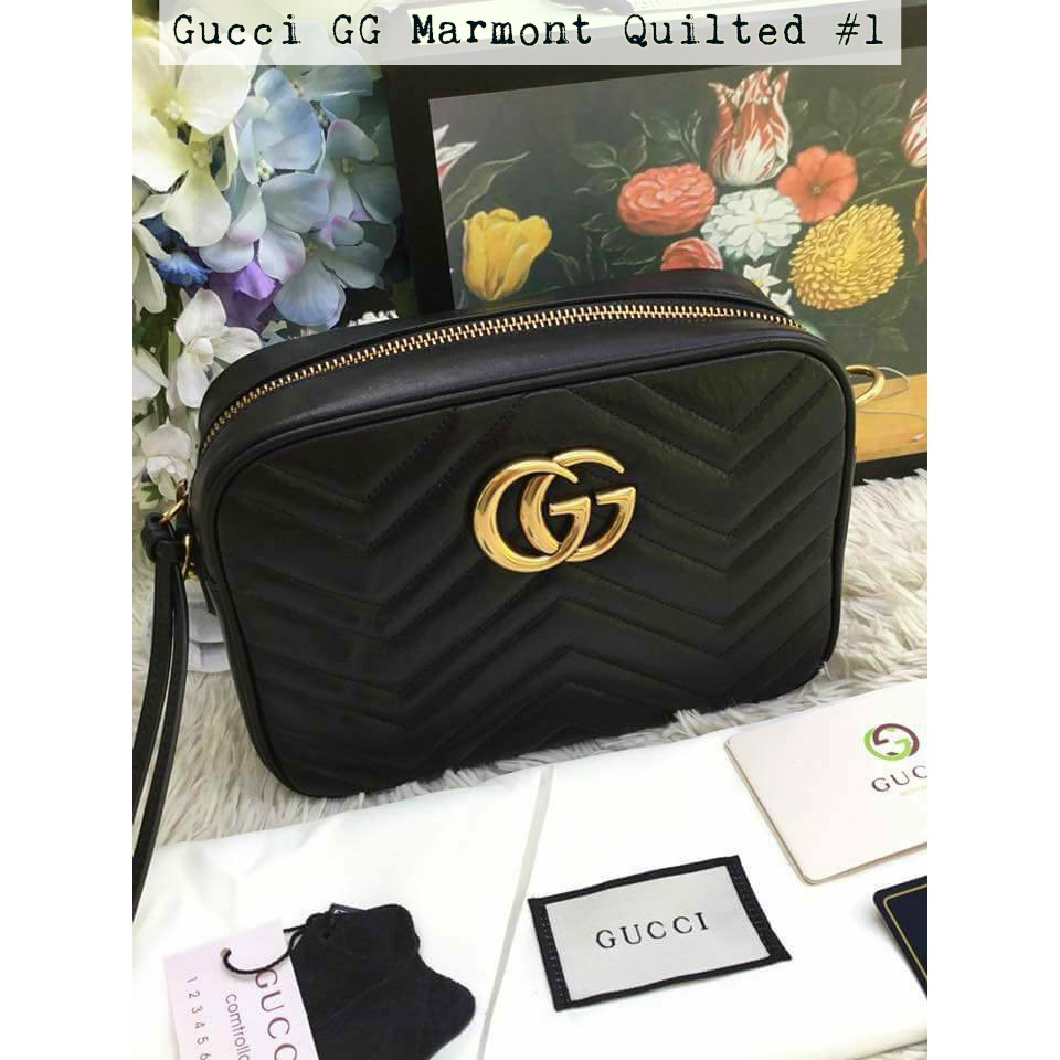 3c0fdbae33fe Authentic Gucci Bag GG Marmont Quilted Leather Sling Bag | Shopee  Philippines