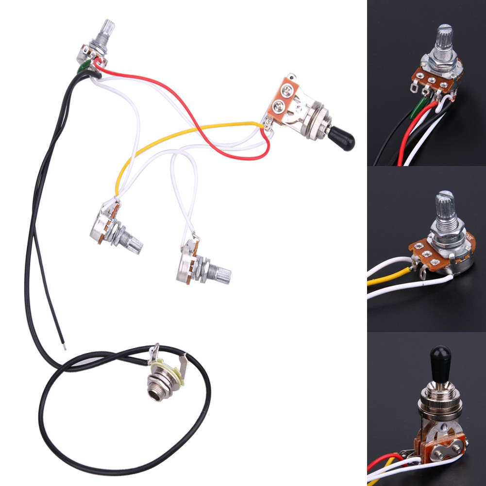 Durable Low Noise 2v 2t 3 Way Switch Wiring Harness For Gibson Lp Guitar 1v2t 1 Jack 500k Pots 5 Fender Guitars Shopee Philippines
