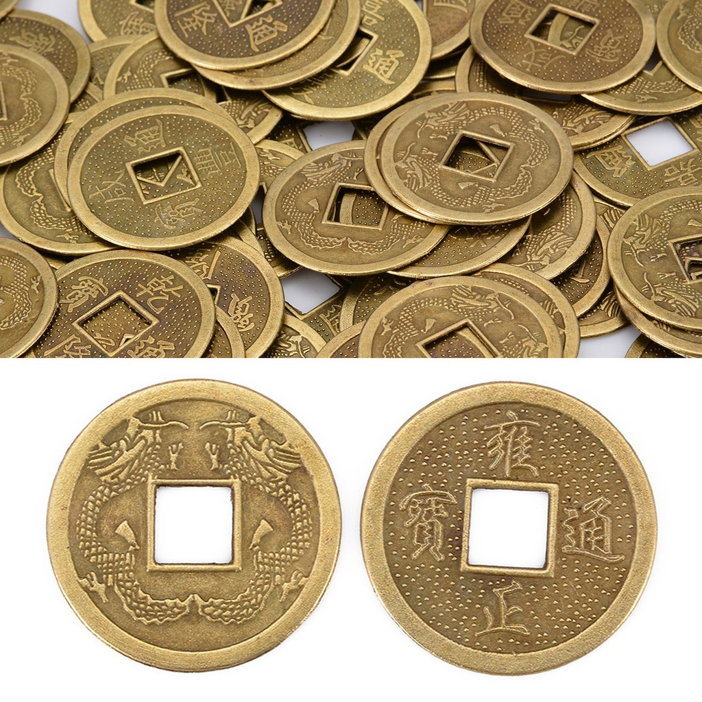 💗Arthur💗100Pcs Lucky Fortune Feng Shui Chinese Oriental Emperor Ancient  Money Coin