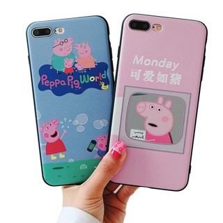 new product 0ded5 051ed iPhone 5s 6s 7 8 Plus Cute Cartoon Peppa Pig Soft Case Cover ...
