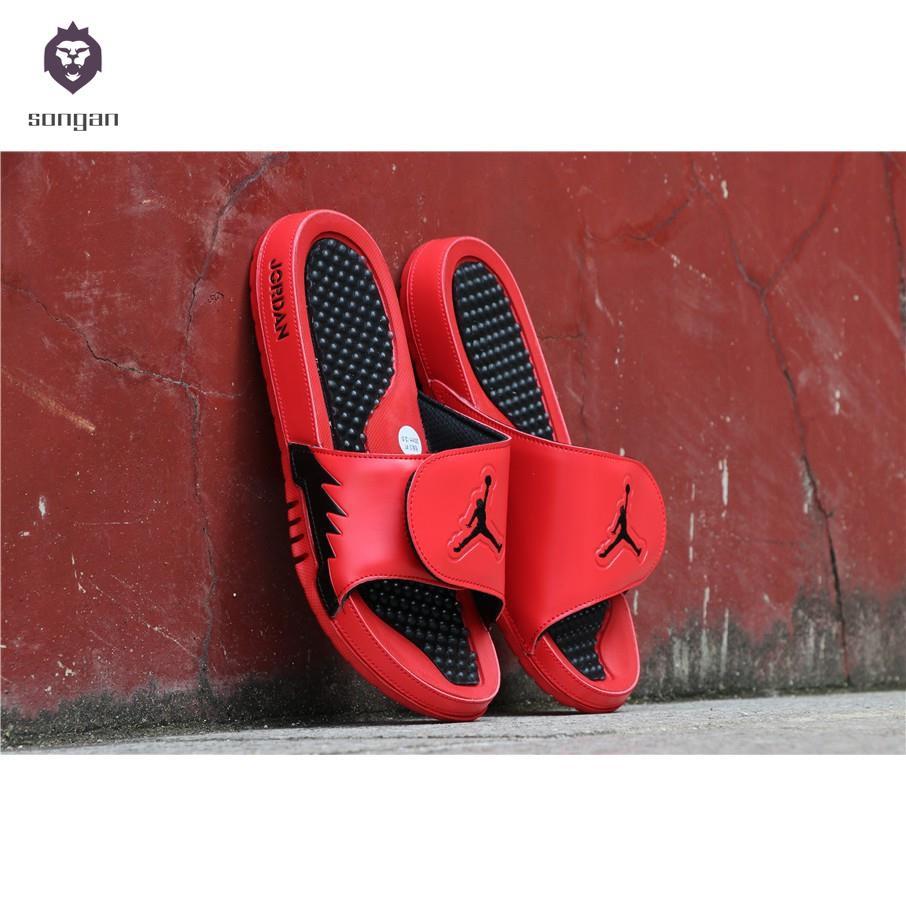 reputable site b027e 1d076 [songan]Air Jordan Hydro 5 Sandals Basketball Slippers For Men's Red