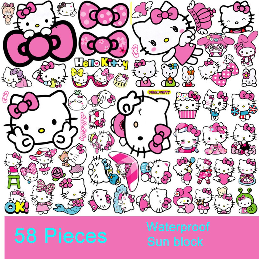 58pcs Hello Kitty Car Wall Motorcycles Bicycle Bag Phone Laptop Sticker Decals