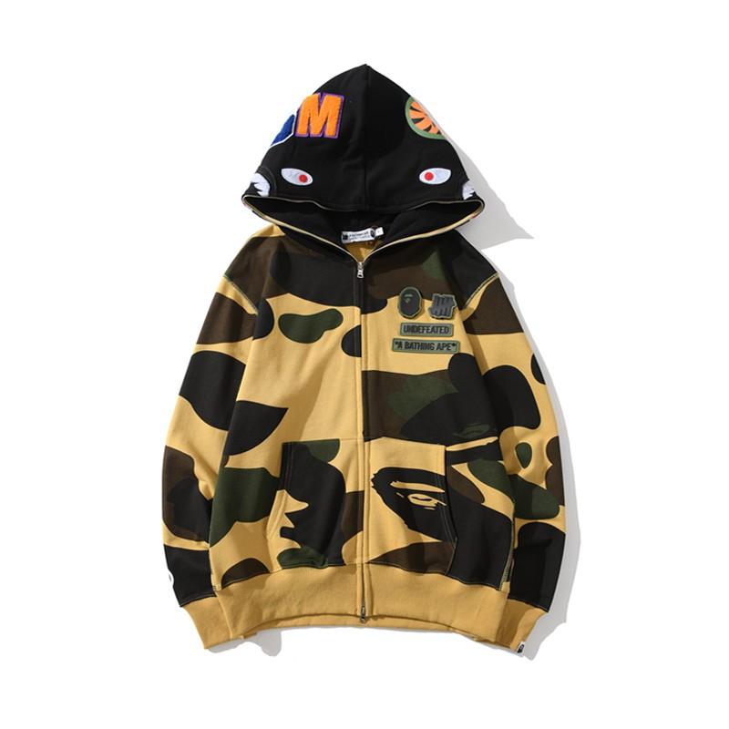 2019 Bape joint stitching plus velvet men/'s casual hooded sweater coat