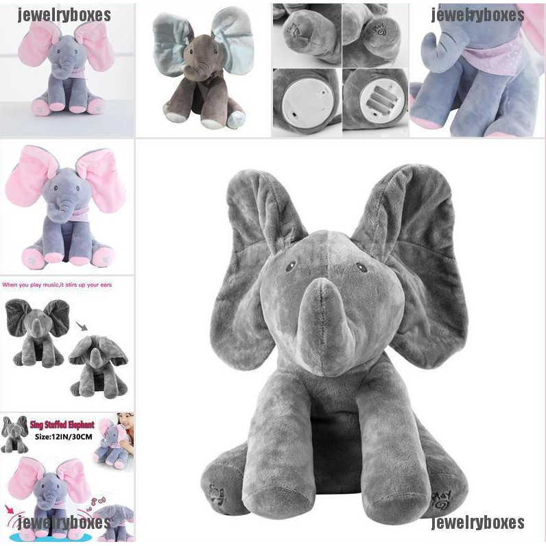 Peek-a-boo Elephant Baby Plush Toy Singing Stuffed Music Cute Doll Kids Gifts