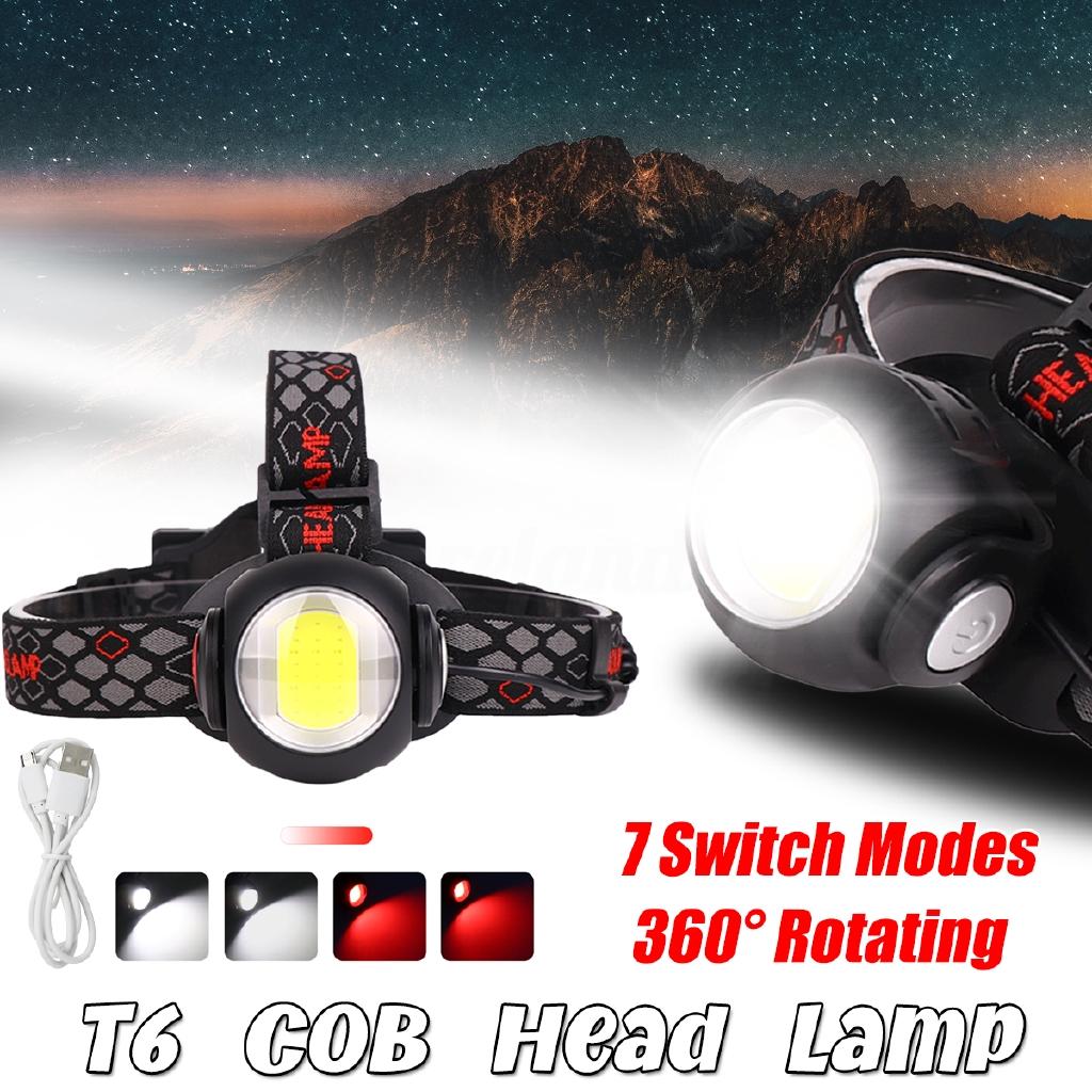 90000LM 5X XM-L T6 LED Headlamp Rechargeable Headlight Flashlight 2X18650 Kit
