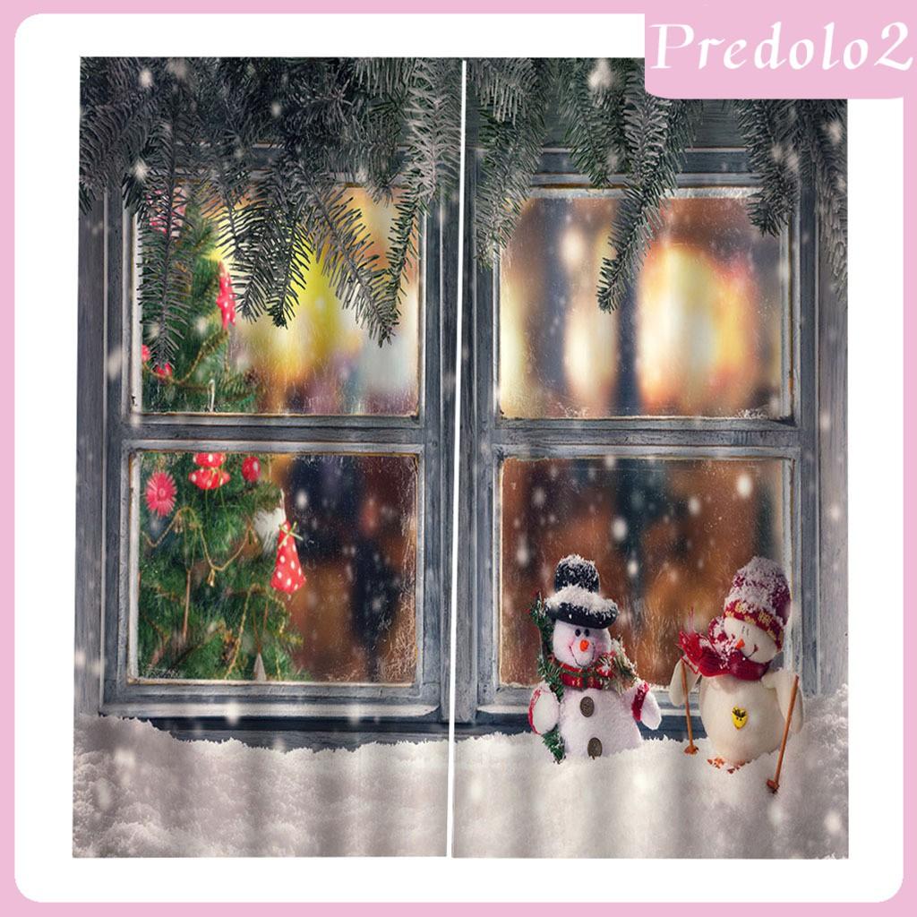 Predolo2 100x140cm Christmas Curtains Window Waterproof Xmas Snowman 2panels Drapes Shopee Philippines