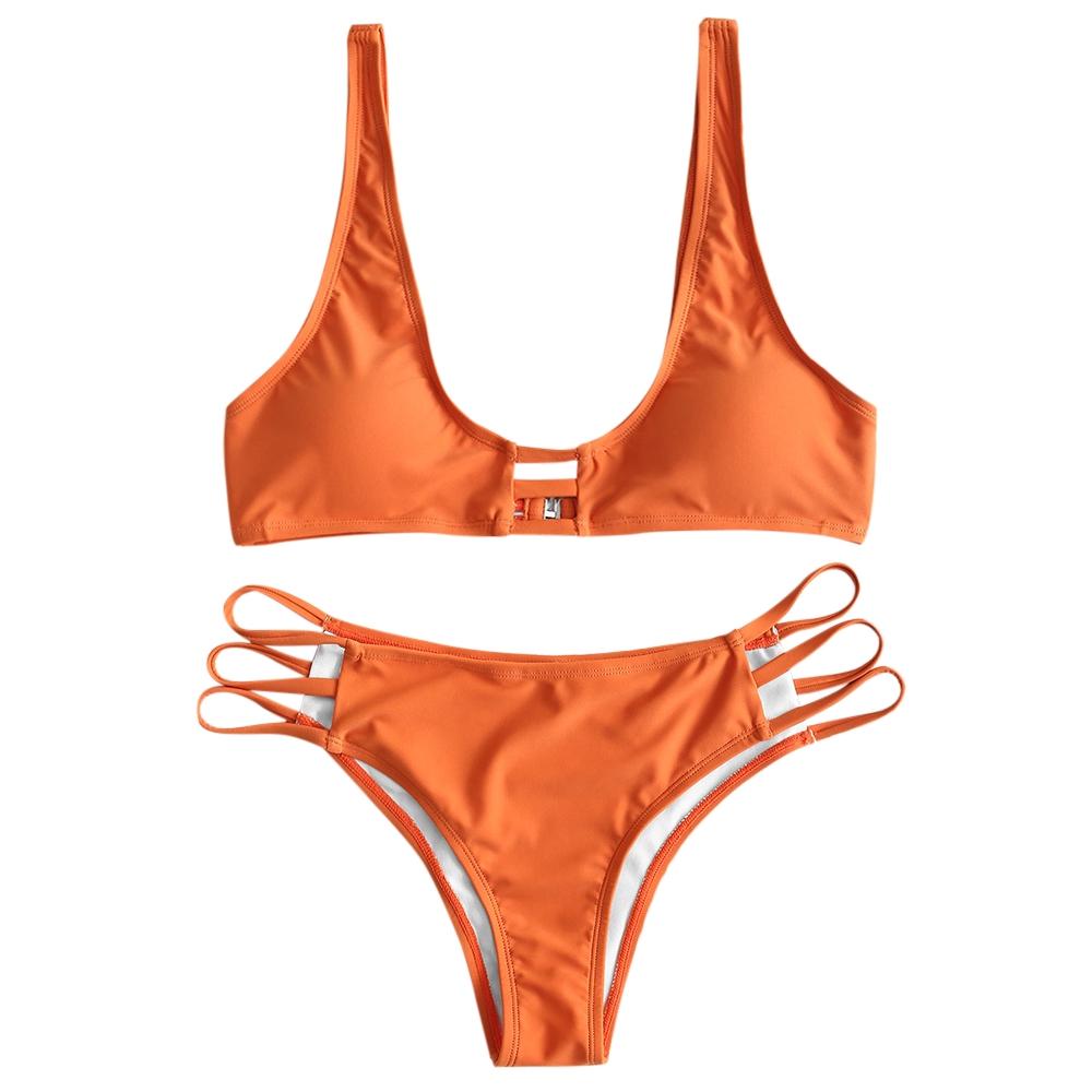 e11eae56cec ZAFUL Cut Out Plunge Bikini Set
