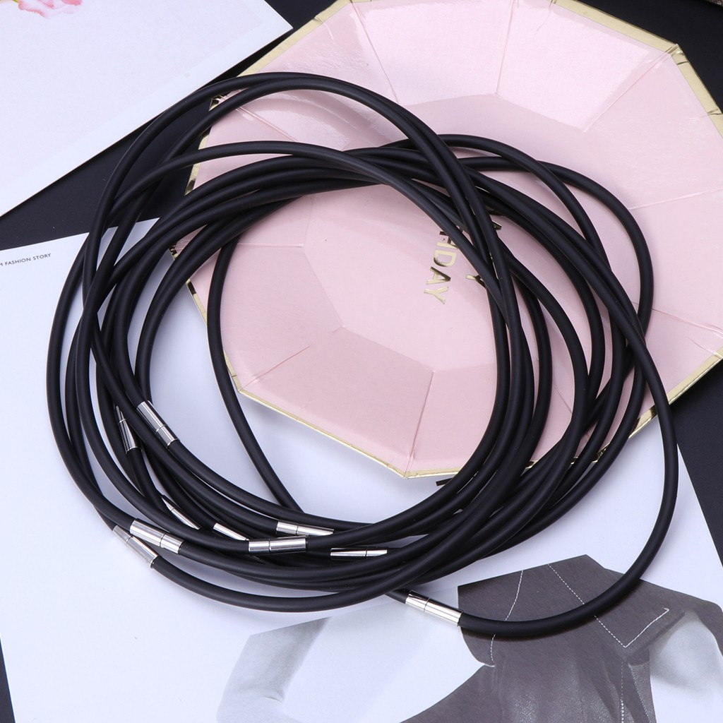 "10Pcs Black OX Leather Cord Choker//Necklace Silver Clasp Chains 2/"" Extension"