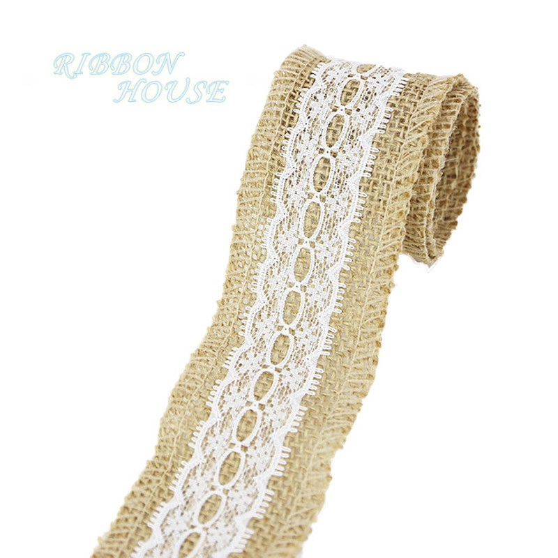 2 Meters Jute Burlap Hessian Ribbon Trim Tape Rustic for Wedding Craft 80mm