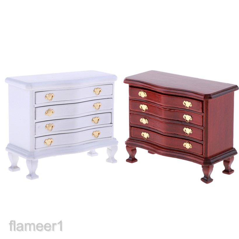 1//12 Dollhouse Miniature Living Room Wooden 4-Drawer Cabinet Furniture Decor