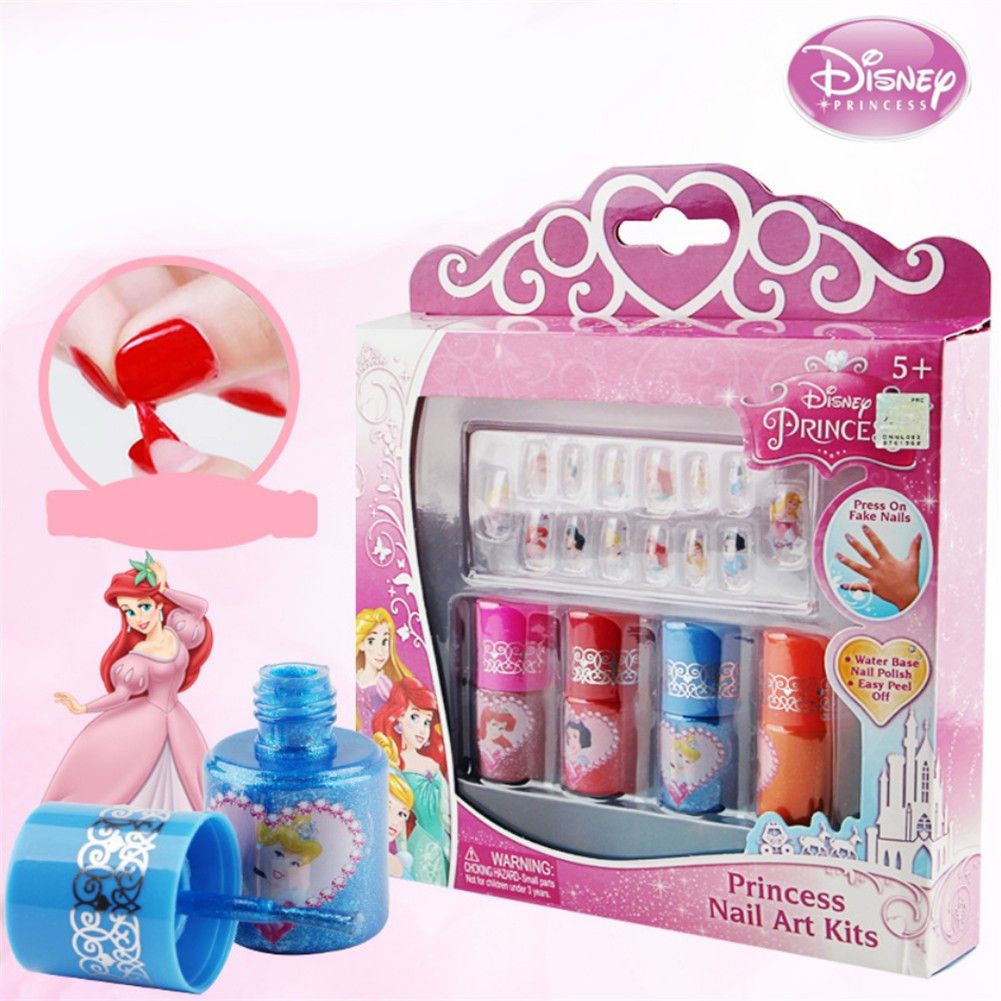 Children's Nail Polish Disney Princess Set 4 Color Nail Art Paste Water  Soluble Peelable Color