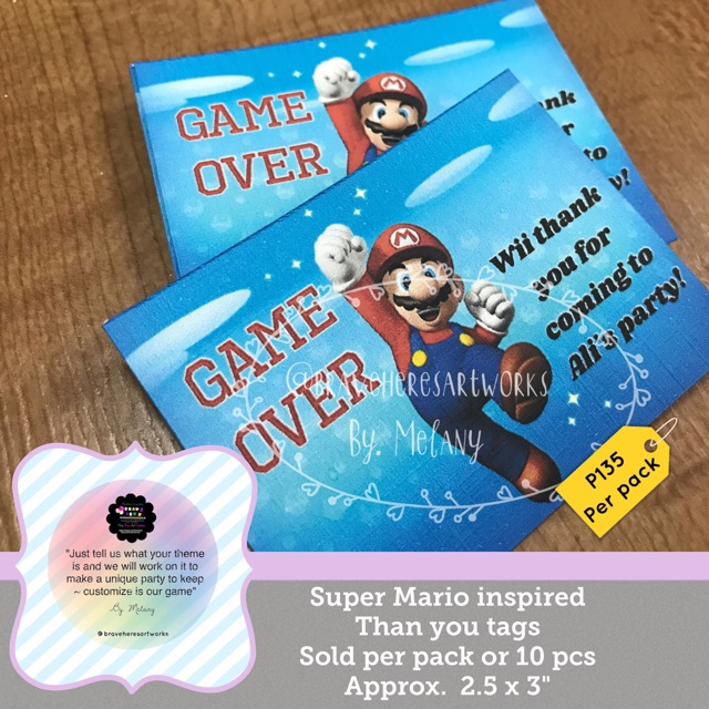 BraveHere®️~ Super Mario Thank You Tags Pack