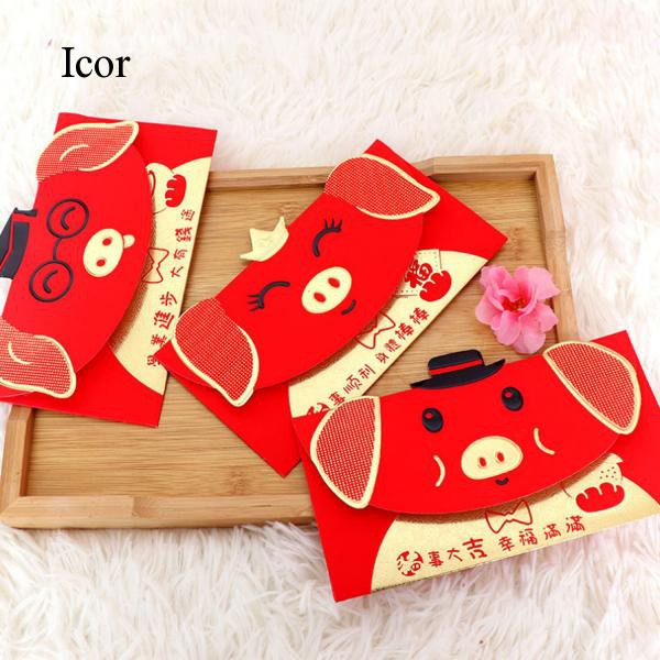 6X Cute Red Envelope To Fill In Money Chinese Tradition Hongbao Gift Present NP