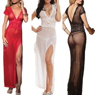 f1c3dec747f Black Sexy Lace V-neck Dress Women Underwear Sleepwear + G-string ...